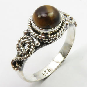 Tiger Eye Sterling and Silver Embellished Ring