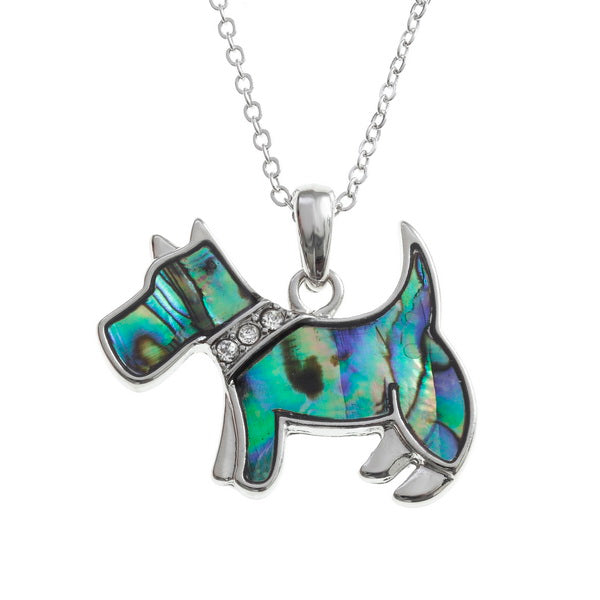 Paua Shell Scottie Dog Pendant