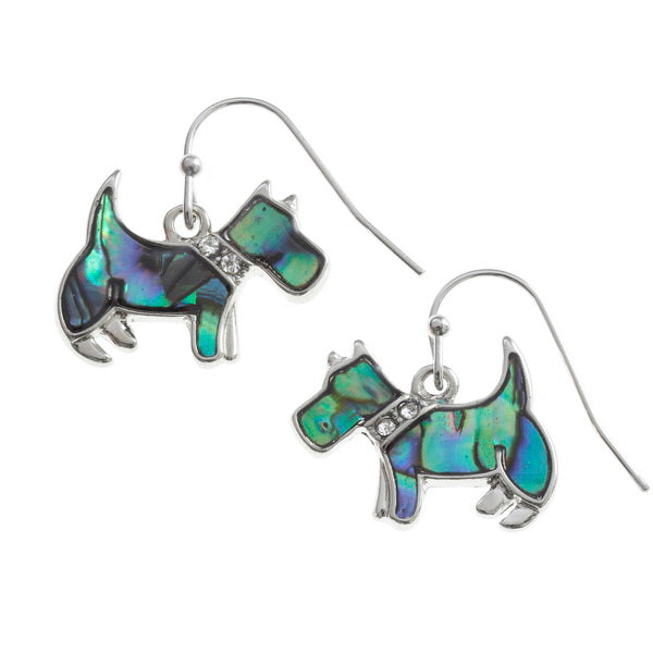 Paua Shell Scottie Dog Earrings