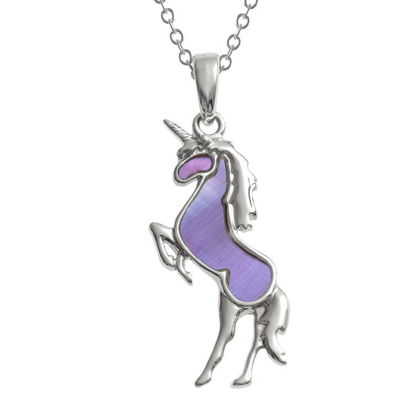 Purple Mother of Pearl Shell Unicorn Pendant