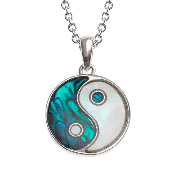 Blue Paua & Mother of Pearl Yin Yang Pendant
