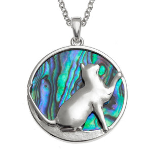 Paua Shell Playful Cat Pendant