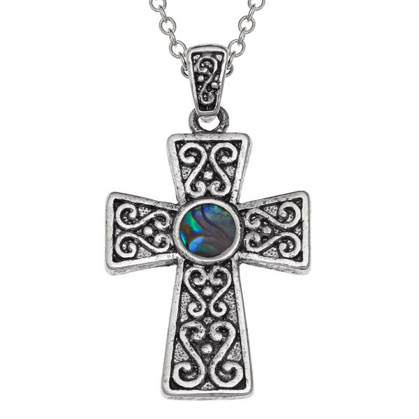 Paua Shell Celtic Cross Pendant