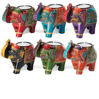 Hand Painted Indian Elephant Tealight Holder