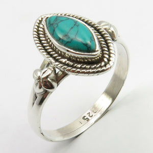 Turquoise Sterling Silver Embellished Ring