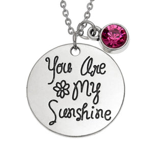 "Fuchsia Pink Glass Stone Pendant ""You Are My Sunshine"""