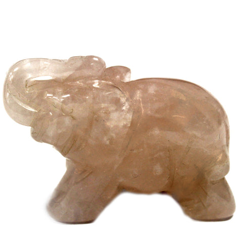 Rose Quartz Elephant Carving