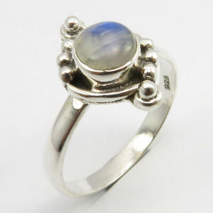Rainbow Moonstone Sterling Silver Embellished Ring