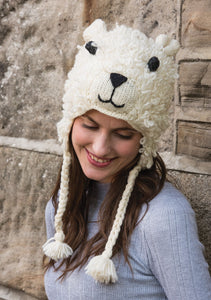 Wool Hand Knit Sheep Hat