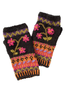 Himalayan Flower Hand Knitted Hand Warmer with Embroidery