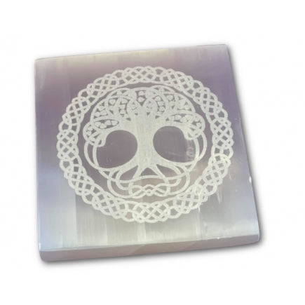 Large Selenite Engraved Tree of Life Square Charging Plate