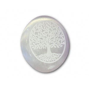 Selenite Tree of Life Engraved Palm Stone