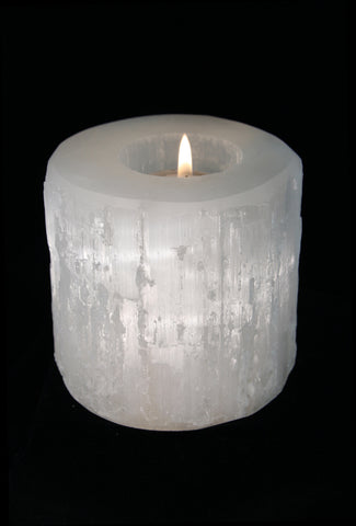 Raw Selenite Candle Holder