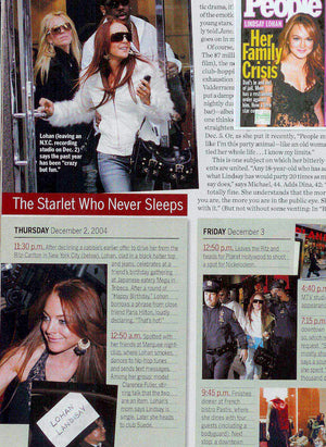 Lindsay Lohan wearing Yvone Christa in People magazine