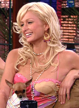 Paris Hilton wearing Yvone Christa on the Tonight Show