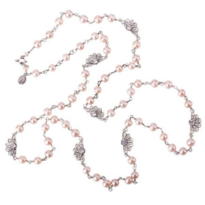 Zinnia flower long necklace - pink pearls