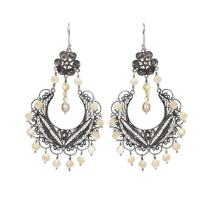 Yvone Christa_EC886_Frida chandelier earrings - cream Mother of Pearl