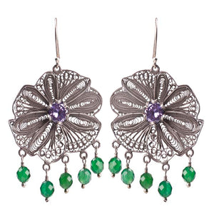 Yvone Christa_ Flower earrings - green onyx_E4001