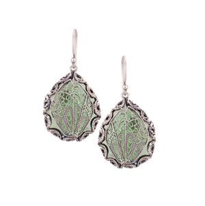 Yvone Christa_JAPANESE FAN EARRINGS - EMERALD GREEN AQUA LEMURIA_E3959