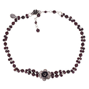 C176 SINGLE ROSE GARNET CHOKER NECKLACE by Yvone Christa