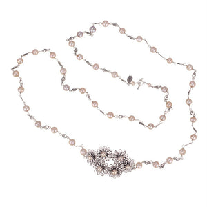 DELICATE FLOWERS AND PEARLS NECKLACE C3451 by Yvone Christa