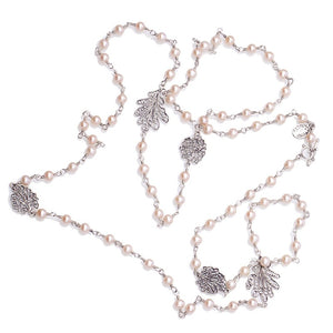 Long Oak leaf twist strand necklace - pink pearls