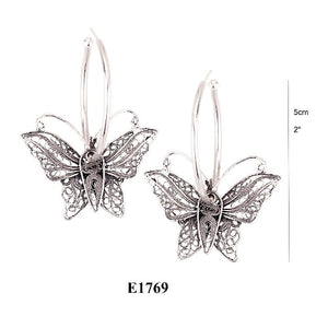 Floating Butterfly on hoop earrings