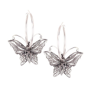 Yvone Christa_FLOATING FILIGREE BUTTERFLY ON A LARGE SILVER HOOP EARRING_E1769