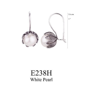 Tulip cup hanging earrings - white pearl - large