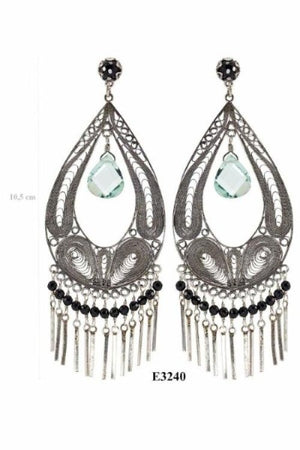 LARGE CHANDELIER EARRINGS WITH SILVER FRINGE