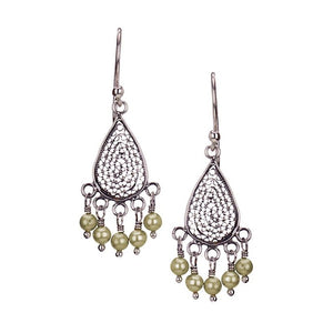 E3333_Green pearls_SMALL TEARDROP FILIGREE EARRINGS by Yvone Christa