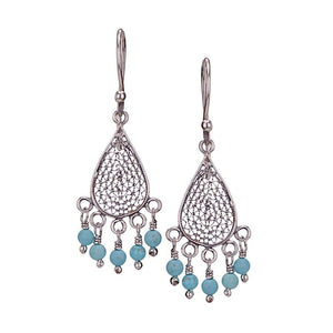 E3333_Turquoise_SMALL TEARDROP FILIGREE EARRINGS by Yvone Christa
