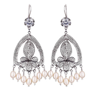 Yvone Christa_VICTORIAN BLOSSOM EARRINGS WITH CREAM PEARL FRINGE_E3816