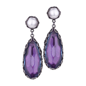 Yvone Christa_AQUA DECOR PURPLE TEARDROP EARRINGS_E3921Purple