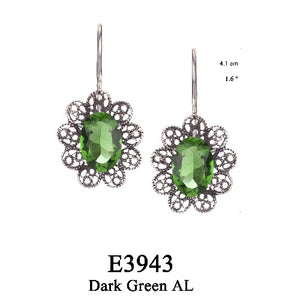 Emerald green lace filigree earring
