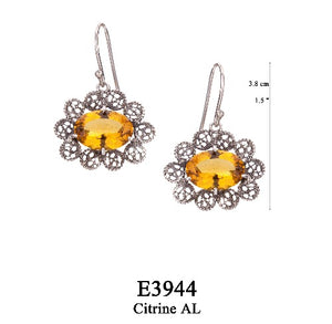 Lace filigree earrings - citrine yellow