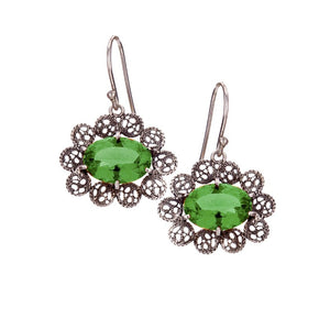 LACE FILIGREE EMERALD GREEN AQUA LEMURIA EARRINGS