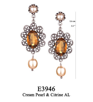 Lace filigree earrings with pearl post