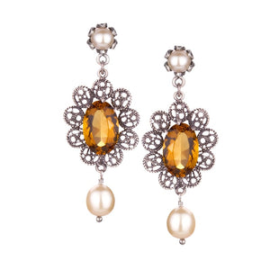 Yvone Christa_A VINTAGE DESIGN FILIGREE EARRING WITH CITRINE AQUA LEMURIA AND CREAM PEARLS_E3946