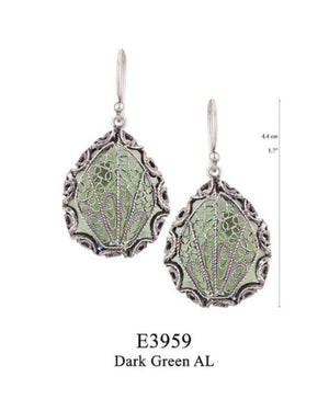 Japanese fan earrings - emerald green