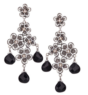 Yvone Christa_BLOSSOM CHANDELIER EARRINGS WITH JET STONE DROPS_E4084