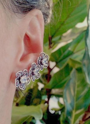 Triple Phlox flower ear cuff earrings