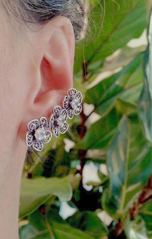Triple Phlox ear cuff and single flower earring