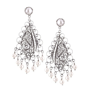 E4179XL ROMANTIC LOTUS FLOWER CHANDELIER EARRINGS by Yvone Christa