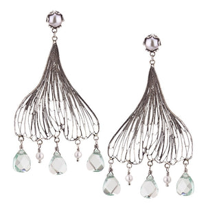 Yvone Christa_LARGE GINKGO BILOBA EARRINGS WITH AQUA LEMURIA_E4208