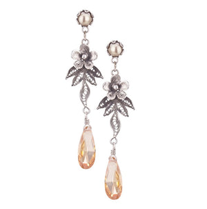 Yvone Christa_DREAMY DAISY FILIGREE EARRINGS WITH FANCY CUT APRICOT CZ_E4237