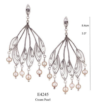 Flower petal chandelier earrings