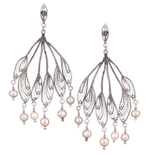 Yvone Christa_ROMANTIC FILIGREE EARRINGS WITH DANGLING CREAM PEARLS_E4245