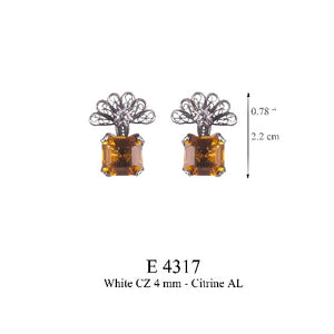Zinnia flower earrings - amber yellow