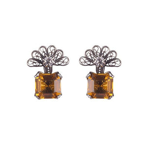 Zinnia flower earrings - amber_E4317 by Yvone Christa